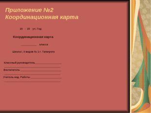 Приложение №2 Координационная карта 20 - 20 уч. Год Координационная карта  _
