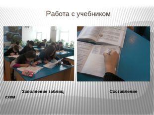 Работа с учебником Заполнение таблиц Составление схем