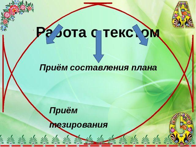 Работа с текстом Приём составления плана Приём тезирования Приём логического...