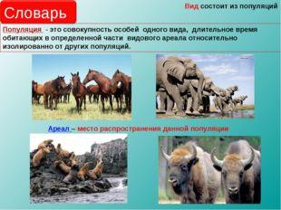 Популяция - это совокупность особей одного вида, длительное время обитающих в