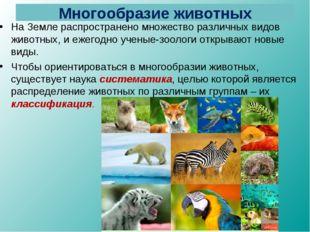 Многообразие животных На Земле распространено множество различных видов живот