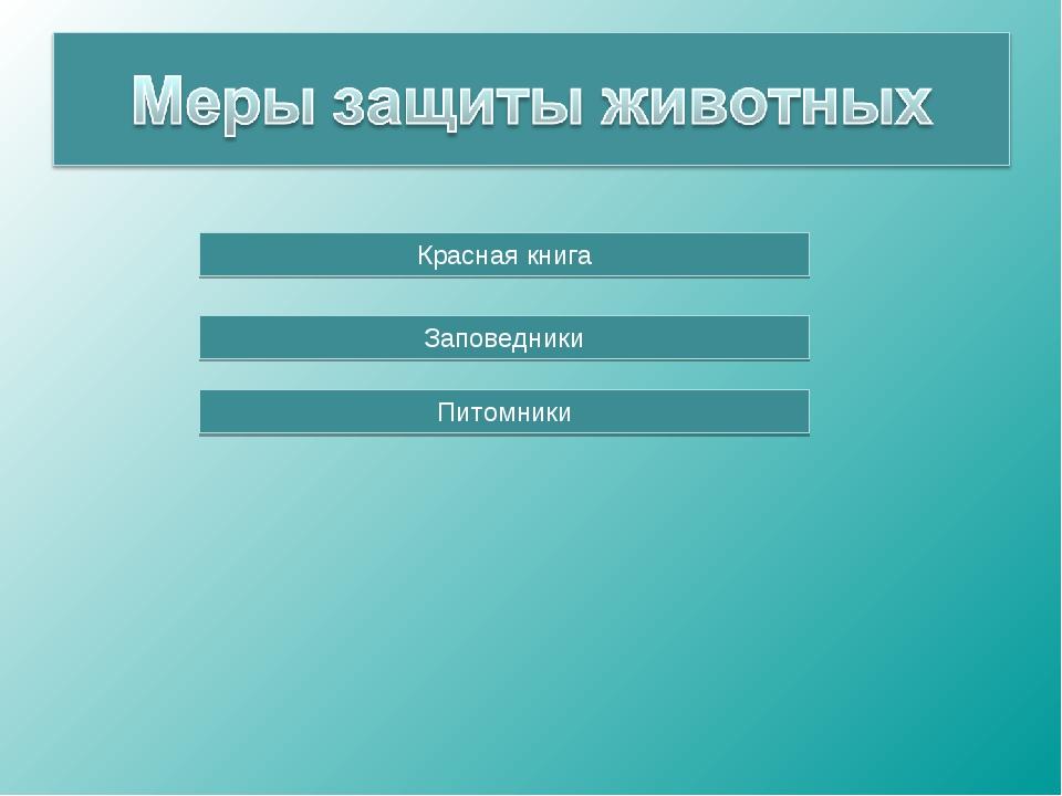 Красная книга Заповедники Питомники