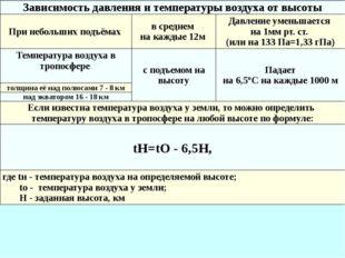 Зависимость давления и температуры воздуха от высоты При небольших подъёмах в