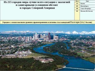 Калгари Из 215 городов мира лучше всего ситуация с экологией и санитарными ус