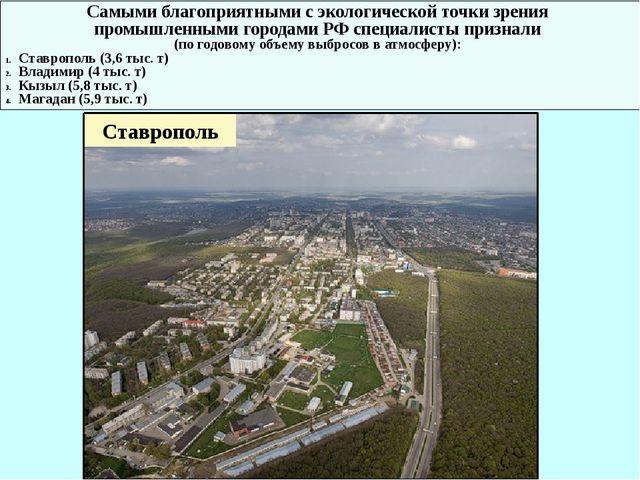 Самыми благоприятными с экологической точки зрения промышленными городами РФ...