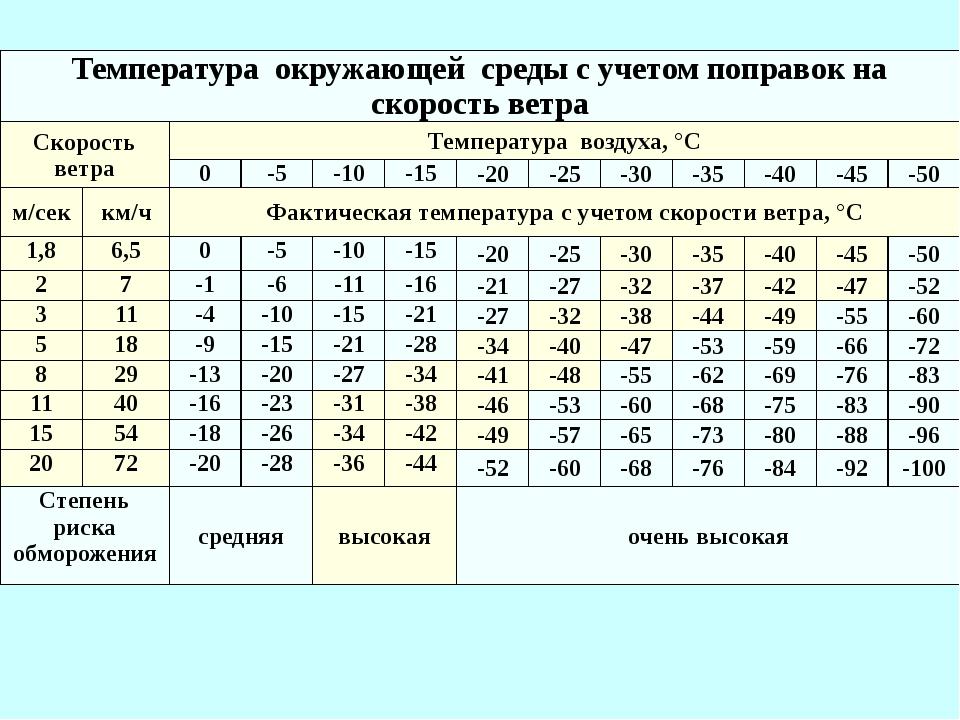 Температура окружающей среды с учетом поправок на скорость ветра Скорость в...