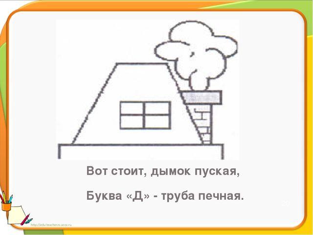 Этот домик – буква Д В домике – окошко. Из трубы идёт дымок А в окошке - кош...