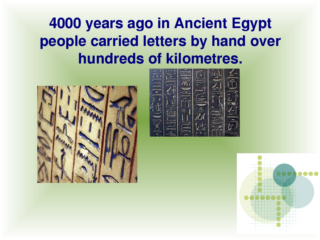 4000 years ago in Ancient Egypt people carried letters by hand over hundreds...