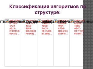 Классификация алгоритмов по структуре: