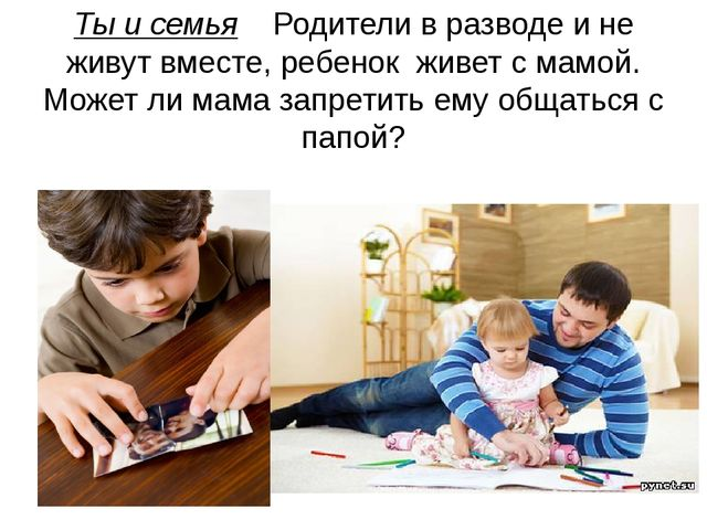 Ты и семья Родители в разводе и не живут вместе, ребенок живет с мамой. Может...