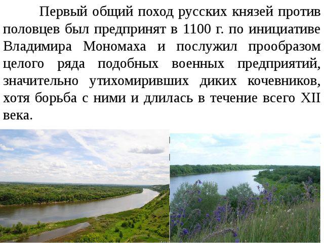 Первый общий поход русских князей против половцев был предпринят в 1100 г. п...