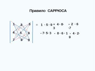 Правило САРРЮСА = - 4 · 2· 9 1 · 5 · 9 + 4 · 8· 3 + 2 · 6 ·7 - 7· 5· 3 - 8 ·