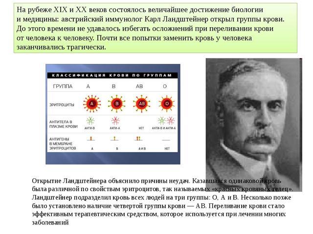Нарубеже XIX иXX веков состоялось величайшее достижение биологии имедицины...