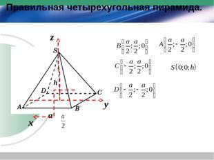 Правильная четырехугольная пирамида. a h х y z h