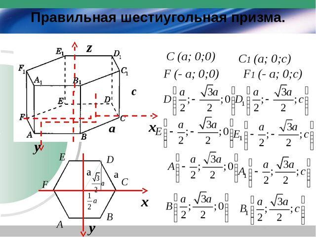 Правильная шестиугольная призма. х у C F D E B A a a C (a; 0;0) F (- a; 0;0)...