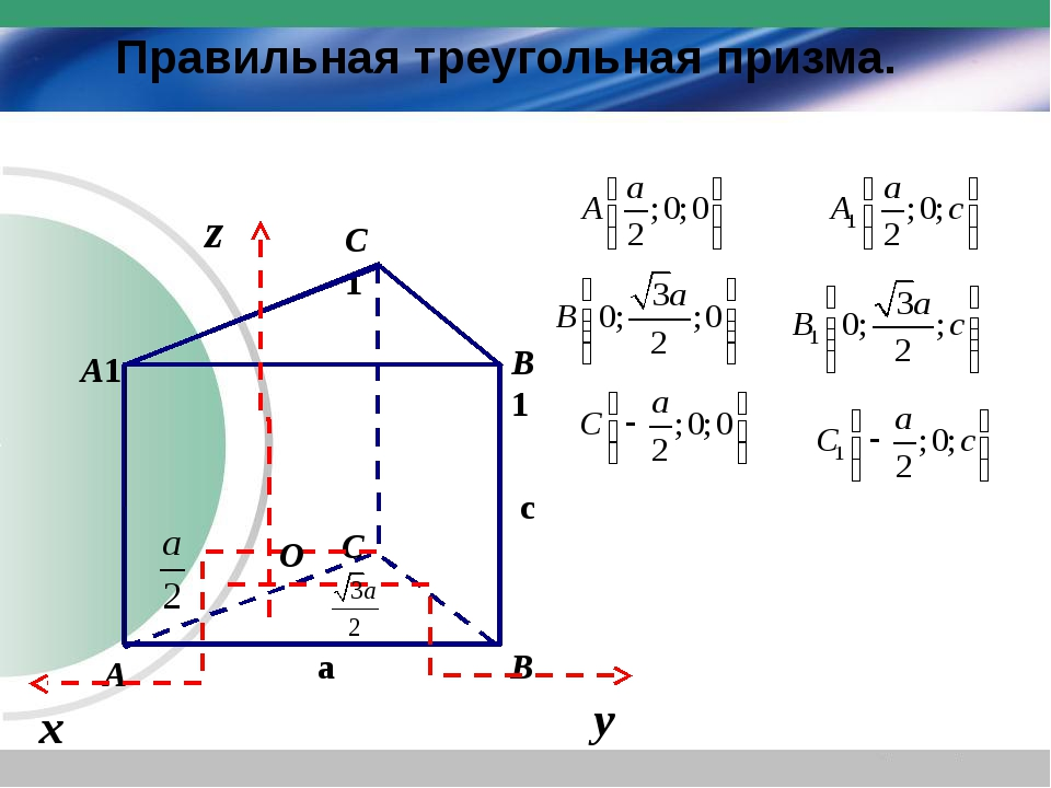 Правильная треугольная призма. c a O х у z