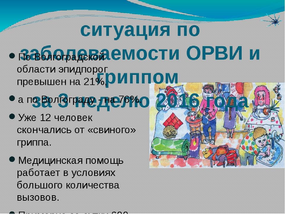 ситуация по заболеваемости ОРВИ и гриппом за 3 неделю 2016 года По Волгоградс...