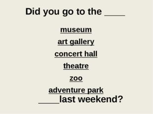 Did you go to the ____ museum art gallery concert hall theatre zoo adventure