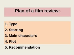 Plan of a film review: 1. Type 2. Starring 3. Main characters 4. Plot 5. Reco