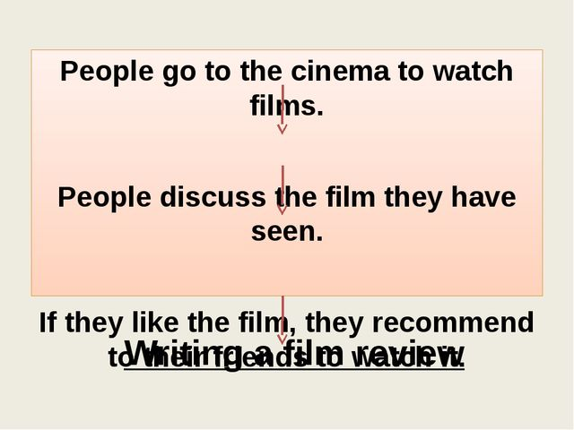 Writing a film review People go to the cinema to watch films. People discuss...