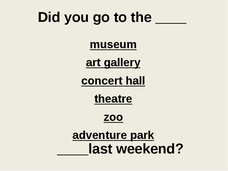 Did you go to the ____ museum art gallery concert hall theatre zoo adventure...