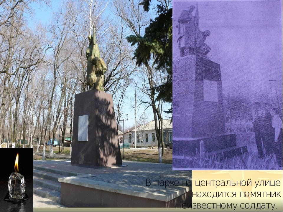 В парке на центральной улице находится памятник Неизвестному солдату.