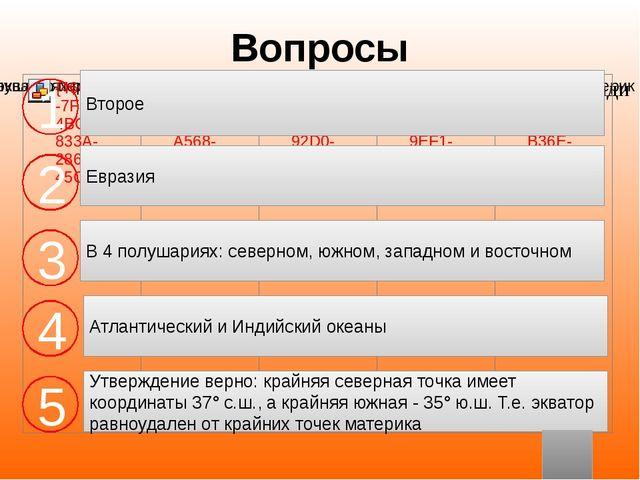 Вопросы Второе Евразия В 4 полушариях: северном, южном, западном и восточном...