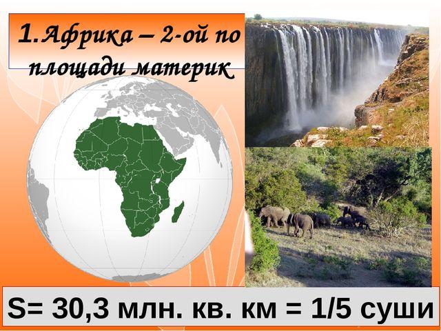 1.Африка – 2-ой по площади материк S= 30,3 млн. кв. км = 1/5 суши
