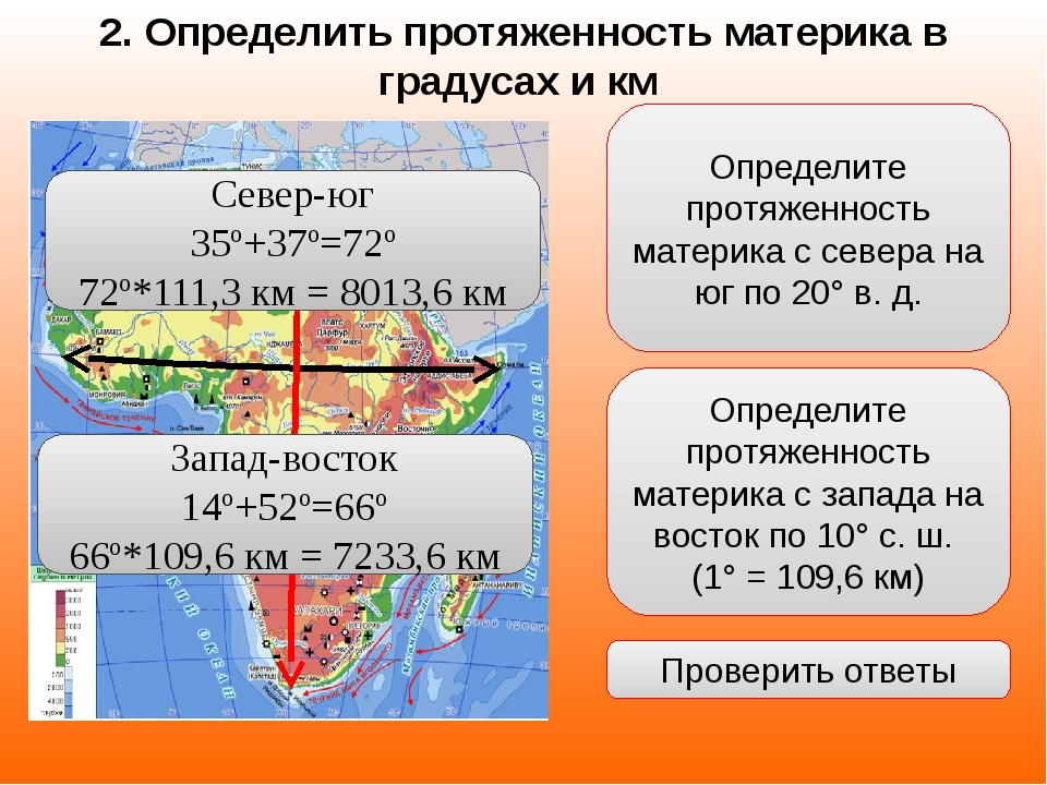 2. Определить протяженность материка в градусах и км Определите протяженность...