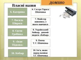 6. Сестра Тараса Шевченка  10. Ім'я, яким народ називає Т.Г. Шевченка 7. Май