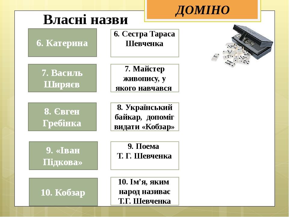 6. Сестра Тараса Шевченка  10. Ім'я, яким народ називає Т.Г. Шевченка 7. Май...