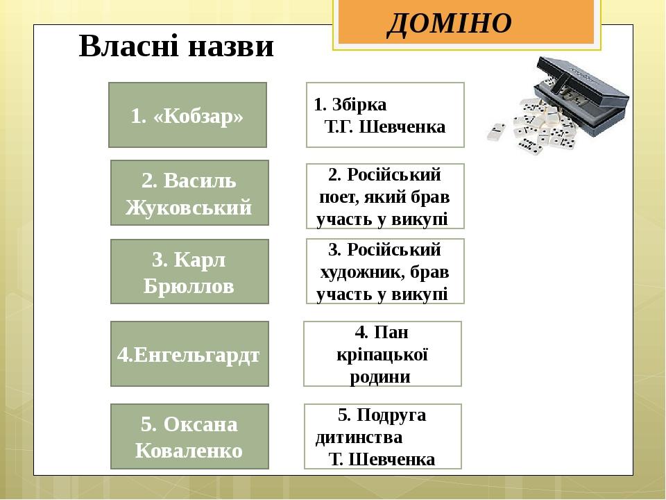 ДОМІНО 1. Збірка Т.Г. Шевченка 2. Російський поет, який брав участь у викупі...