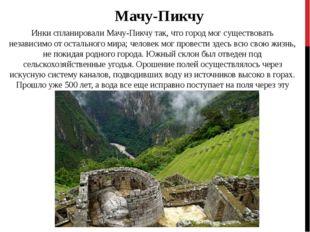 Инки спланировали Мачу-Пикчу так, что город мог существовать независимо от ос