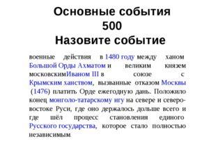 Основные события 500 Назовите событие. военные действия в1480 годумежду хан