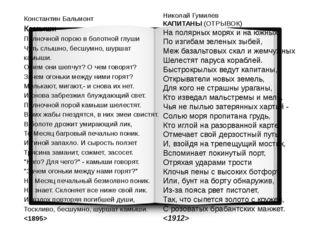 Николай Гумилев КАПИТАНЫ (ОТРЫВОК) На полярных морях и на южных, По изгибам з