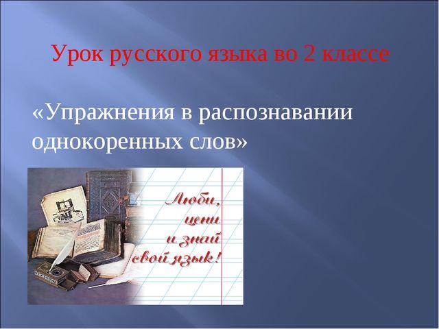 Урок русского языка во 2 классе «Упражнения в распознавании однокоренных слов»