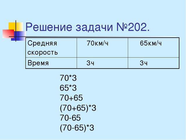 Решение задачи №202. 70*3 65*3 70+65 (70+65)*3 70-65 (70-65)*3 Средняя скорос...