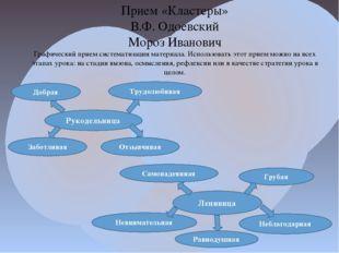 Прием «Кластеры» В.Ф. Одоевский Мороз Иванович Графический прием систематизац