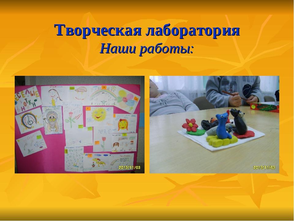 Творческая лаборатория Наши работы:
