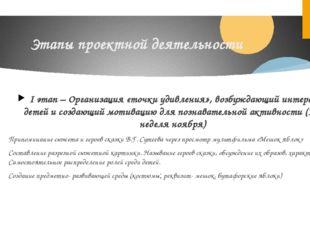 Этапы проектной деятельности I этап – Организация «точки удивления», возбужда