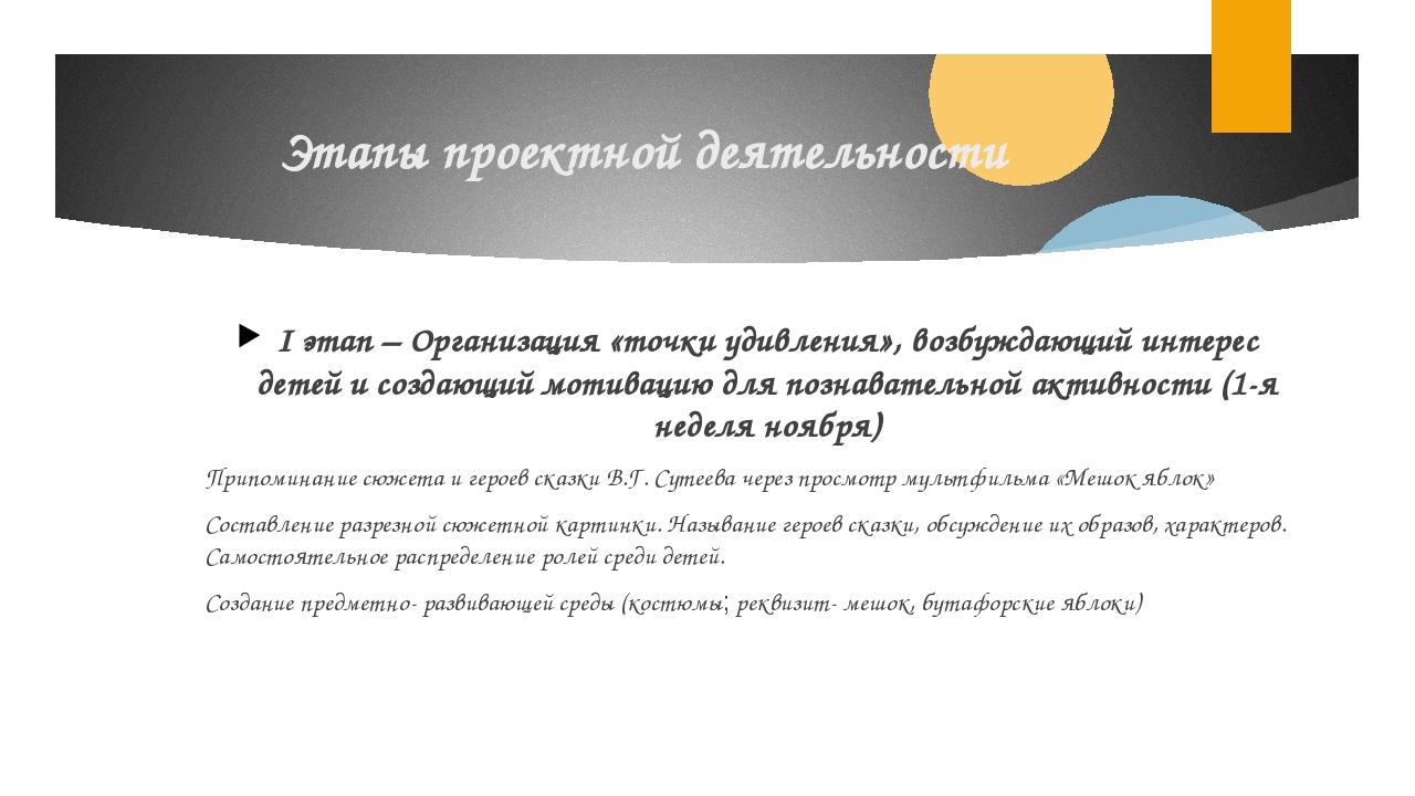 Этапы проектной деятельности I этап – Организация «точки удивления», возбужда...