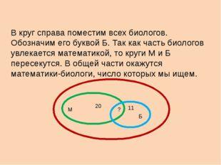 В круг справа поместим всех биологов. Обозначим его буквой Б. Так как часть б
