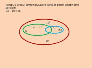 Теперь считаем: внутри большого круга 35 ребят, внутри двух меньших 35 – 10 =