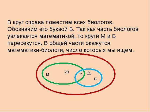 В круг справа поместим всех биологов. Обозначим его буквой Б. Так как часть б...