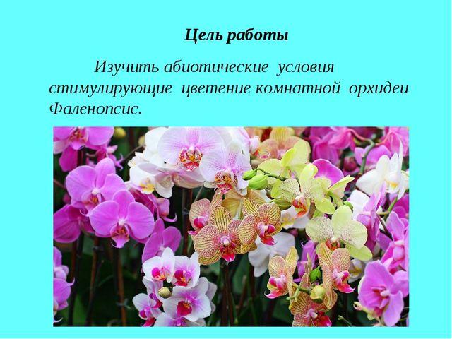 Цель работы Изучить абиотические условия стимулирующие цветение комнатной ор...