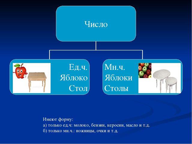 Имеют форму: а) только ед.ч: молоко, бензин, керосин, масло и т.д. б) только...