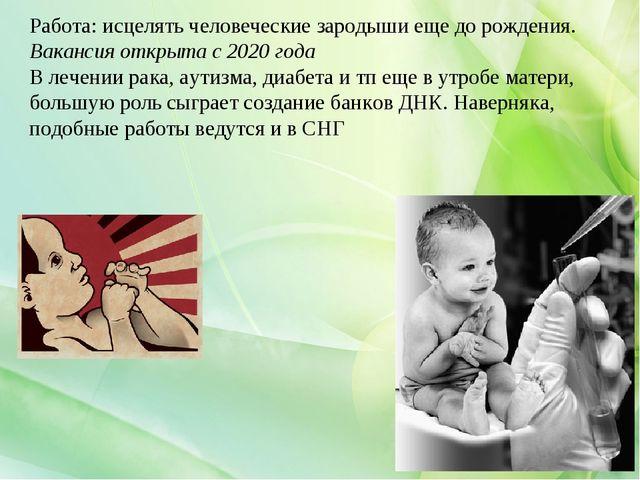Работа:исцелять человеческие зародыши еще до рождения. Вакансия открыта с 20...