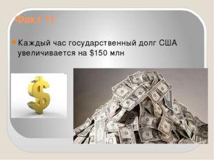 Факт 11 Каждый час государственный долг США увеличивается на $150 млн