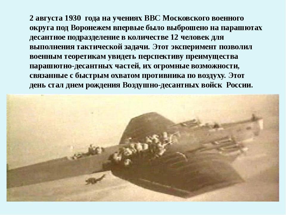 2 августа 1930 года на учениях ВВС Московского военного округа под Воронежем...