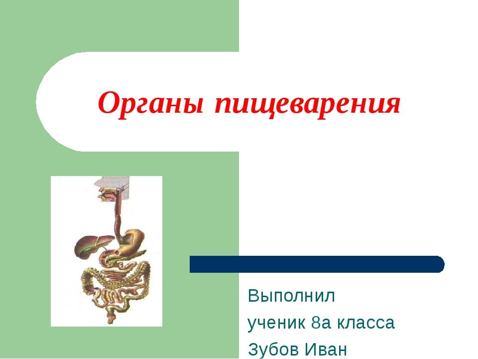Органы пищеварения Выполнил ученик 8а класса Зубов Иван .